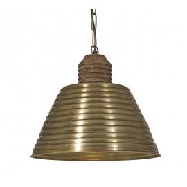 Φωτιστικό μεταλλική καμπάνα μπρονζέ - ξύλο