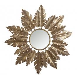 Καθρέπτης στρογγυλός μεταλ.κορνίζα με χρυσά φύλλα