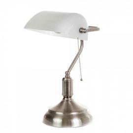 Επιτραπέζιο φωτιστικό νικελ ματ / λευκό γυαλί