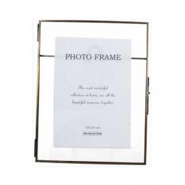 Γυάλινη φωτ/θήκη με μπρούτζινη κορνίζα, 13x18cm
