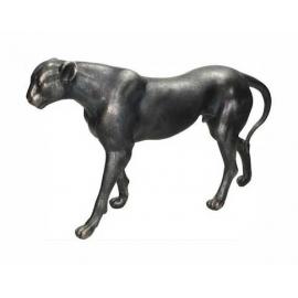 Διακοσμητική επιτραπέζια Λεοπάρδαλη μαύρη / ασημί 39,5cm
