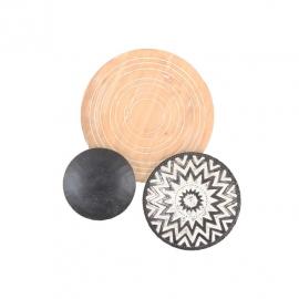 Διακοσμητική  σύνθεση επιτοίχια 3 δίσκοι μαύρο-άσπρο-φυσικό ξύλο