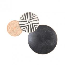 Διακοσμητική  σύνθεση επιτοίχια 3 δίσκοι μαύρο-ασπρόμαυρο-φυσικό ξύλο